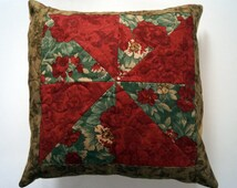 Floral Patchwork Throw Pillow Cover 14 inch in a Red and Green Pinwheel Design - COVER ONLY