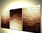 Abstract Gold Original Palette Knife Art, Mini Bronze Copper Textured Painting By Dan Lafferty - RUSH OF GOLD - 12 x 27