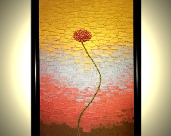 """Red Metallic ROSES Poppies Impasto Flowers Painting, Abstract Flowers Textured Art By Lafferty - Golden Rains - 24""""x36"""" Framed"""