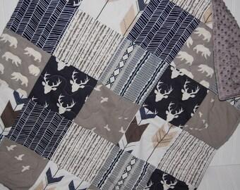baby quilt- baby boy quilt-minky baby quilt- elk baby quilt- navy and gray baby quilt- baby bedding- arrow baby quilt- woodland baby bedding