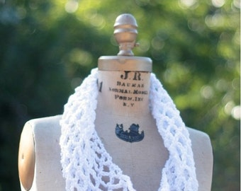 Winter Clearance circle scarf Infinity scarf white