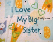 I Love My Big Sister Embroidered Bib with Velcro Closure for Babies and Toddlers
