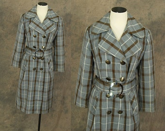 Clearance SALE vintage 60s Trench Coat - Blue and Brown Plaid Trench Coat 1960s Long Coat Sz M