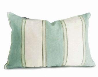 Green Cream Pillows, Striped Throw Pillow Covers, Coastal Cushions, Sea Foam Green Lumbar Pillow, Beach House Decor,  18x18