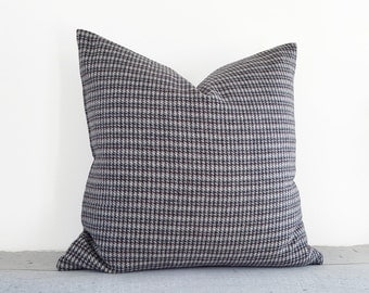 Grey Houndstooth Pillow, Grey Wool Pillows, Charcoal Grey Pillows, Grey Red Cushions, Plaid Cushion Covers, 14x20 Lumbar, 18x18, 20x20