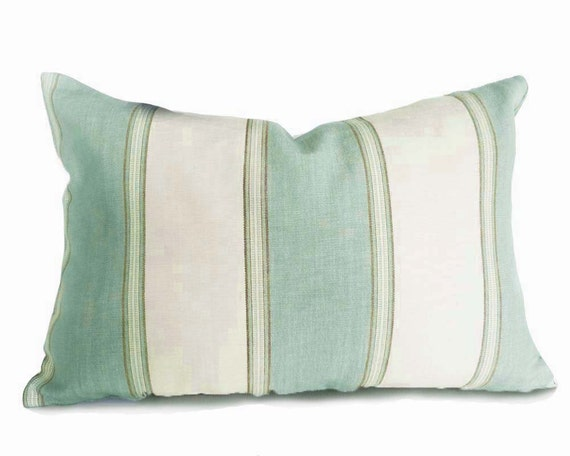 Coastal Home Throw Pillows : Green Cream Pillows Striped Throw Pillow Covers Coastal