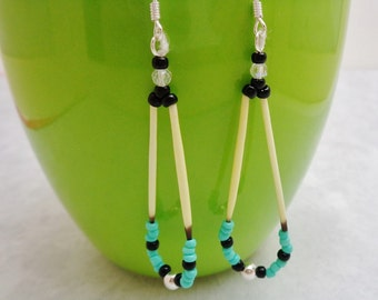 Beaded Porcupine Quill Earrings Turquoise & Black