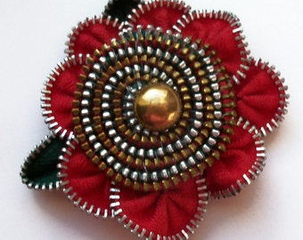 Red Spiral Floral Brooch / Zipper Pin by ZipPinning 2969