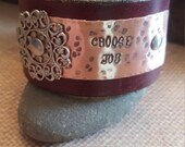 """Burgundy Red Leather Cuff Bracelet  with Words """"Choose Joy"""" on Copper Metal"""