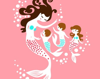 """8X10"""" mermaid mother with 2 boys and 1 girl giclee art print on fine art paper. pink, teal blue, pink, very dark and light brunette."""