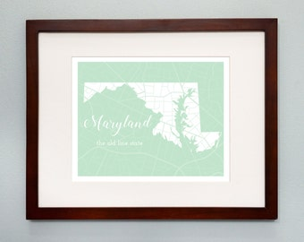 Maryland State Map Print - 8x10 Wall Art - Maryland State Nickname - Typography - Housewarming Gift