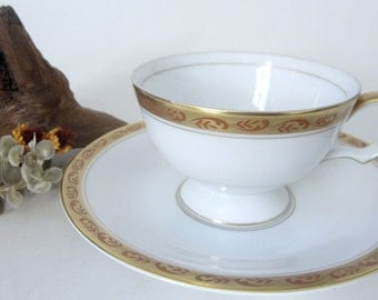 Vintage Bone China Teacup Saucer Nagoya Shokai Demitasse Japan Gold Floral Band Trim