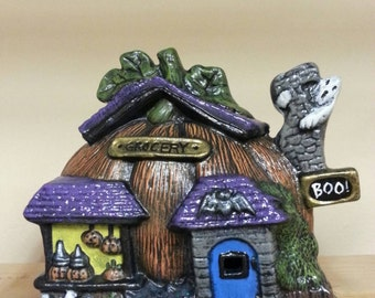Hand Painted Ceramic  Pumpkin House for your Fairy Garden Decoration