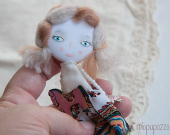 Young Girl with Horse, Art doll brooch, Personalized gift for her