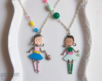 Girl necklace, cute doll pendant, little girl jewelry