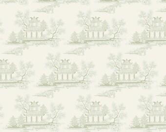 Tilda Fabric, Tilda China Grey Green Fat Quarter, The Seaside Life Collection, Tilda Cotton Fabric 480556, Fat Quarter, 50 cm x 55 cm