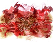 Red Flame Laser Copy of Original Alcohol Ink Artwork / Red, Brown, Pink Abstract Design