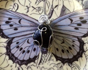 Reversible APACHE TEAR Obsidian Loopy Wire Wrapped Pendant In Silver Finished Copper Wire - Volcanic Glass - Metaphysical - Chakras - Reiki