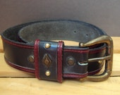 Navy and Burgundy West Germany Leather Belt Small size 36