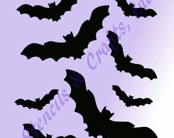 BAT STENCILBATS halloween stencils pattern template background templates paint craft pochoir scrapbook new