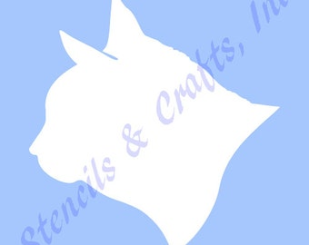 "3 1/2"" CAT SILHOUETTE STENCIL template face head templates stencils pattern feline pochoir cats art paint craft new free shipping"