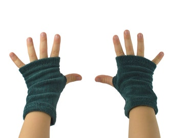 Toddler Arm Warmers in Fuzzy Green Caterpillars - Green Blue Fingerless Gloves