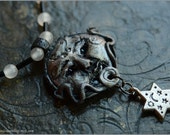Luna Moon with crystals necklace - OOAK - Handmade jewelry sculpt