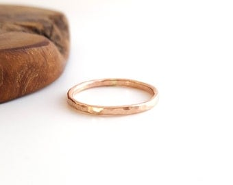 14k rose gold filled stacking ring - hammered - pink gold