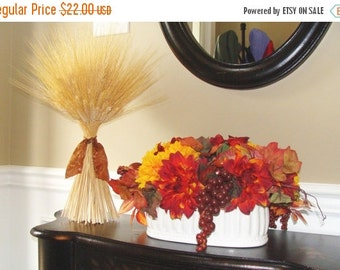 WREATH SALE Fall Decoration- XL Wheat Sheath- Thanksgiving Centerpiece- Fall Decor Mantle or Table Decor
