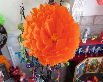 """Xtra Large Day of the Dead 15"""" MARIGOLD PAPER Flower -  Vibrant and Original for your Altar"""
