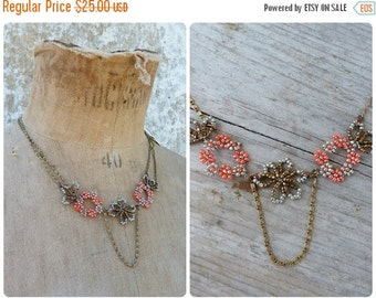 ON SALE DELIGHT reffined Handmade in France beaded floral necklace