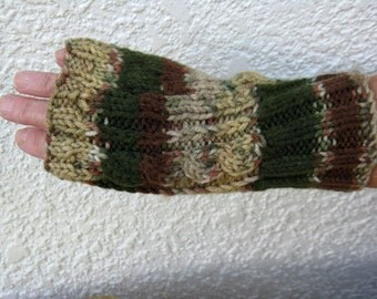 Hand knitted Unisex hand warmers, fingerless gloves, green camo look, cable
