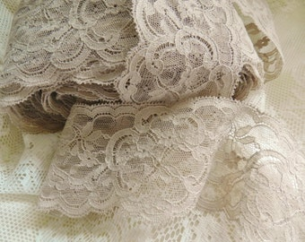 French Lace, Vintage Lace, Soft Taupe Lace,
