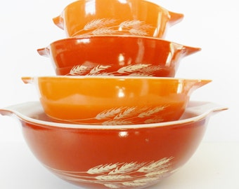Pyrex  Autumn Harvest Bowl Set, Pyrex  Cinderella Bowl Set, Orange Wheat Bowl Set, Pyrex Orange Bowls