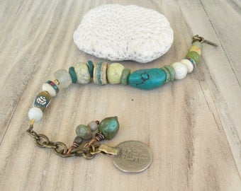 Boho Beaded Bracelet, Turquoise and Green, Handmade, Tribal, Adjustable, Bracelet with Dangles