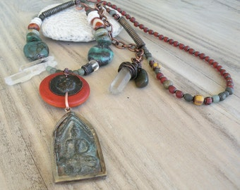 Long Earthy Buddha Necklace, Rust and Teal, Adjustable, Handmade, Asymmetrical Necklace, Turquoise and Quartz