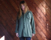 30% off ... Army Green Fatigue Field Jacket Over Shirt - Vintage 90s - LARGE L