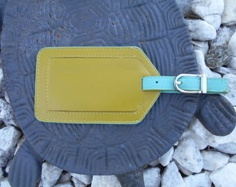 Luggage Tags in Moss Green/Turquoise Combination