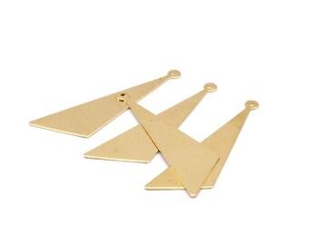 Triangle Necklace Pendant, 20 Raw Brass Triangles (42x34x15mm) Brc139--n562