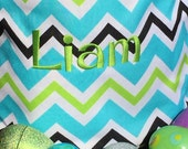 Turquoise, black, white, green Multi- colored Chevron Easter Bucket with FREE personalization.   Monogrammed Easter Basket.
