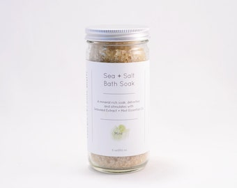 Sea + Salt. Bath Soak. Pacific Salt. Seaweed Extract. Mint. Essential Oil. Vegan.