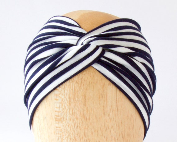 Twist Headband Soft Headband Hair Accessory Navy Stripe Spring Fashion Boho Chic Spring Accessory 1920s Headband Turban Mariner's Hairwrap