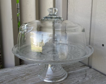 Glass Pedestal Stand Cake Platter with Dome Lid