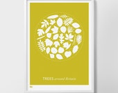 Trees Around Britain, Trees Around Britain Screen Print, Trees Wall Art, Trees Wall Poster, Nature Wall Art, Nature Wall Decor, Trees Print