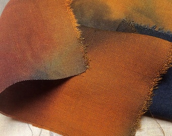 Hand dyed cotton/linen piece for Quilting, Needlecraft, Embroidery and Stitching