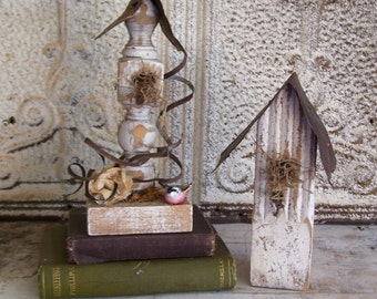2 Shabby Chic bird house Home decor Reclaimed material French Country Farmhouse Distressed reclaimed Cottage Chic