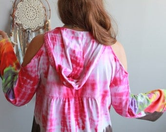 Bell Sleeve Open Shoulder Tie Dye Hoodie Jacket Size XS/Small UPcycled Hippie Boho OOAK Clothing
