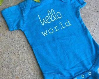 H E L L O world ... newborn onesie ...blue