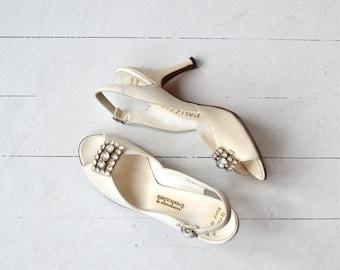25% OFF SALE Delacanette heels | vintage 1950s shoes | white wedding 50s heels 6.5