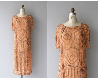 25% OFF SALE Topographic Rose dress | vintage 1920s dress | beaded silk 20s dress